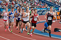 Gilbert senior Thomas Pollard leads midway through the boys 1600 at the 2015 Kansas Relays.