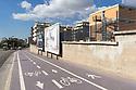 15 marzo 2020, Sassari, via Rockfeller. Pista ciclabile e Istituto Tecnico Industriale G. M. Angioj