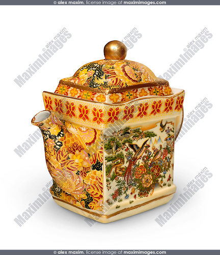 Decorated colorful chinese ceramic teapot close-up Isolated silhouette on white background with a clipping path