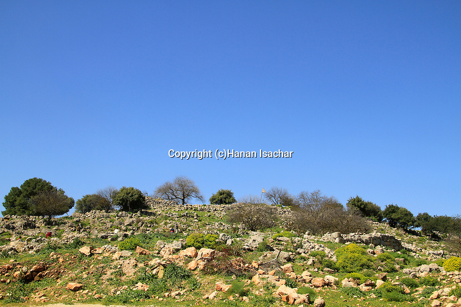 Israel, Upper Galilee, ruins of Hellenistic Temple and Hasmonean fortress at Keren Naftali