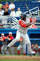 Lowell Spinners Kendrick Perkins #12 during a game against the Batavia Muckdogs at Dwyer Stadium on July 7, 2012 in Batavia, New York.  Batavia defeated Lowell 3-0.  (Mike Janes/Four Seam Images)