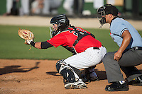 Kannapolis Intimidators catcher Brett Austin (20) sets a target as home plate umpire Cody Clark looks on during the South Atlantic League game against the Hickory Crawdads at CMC-Northeast Stadium on May 21, 2015 in Kannapolis, North Carolina.  The Intimidators defeated the Crawdads 2-0 in game one of a double-header.  (Brian Westerholt/Four Seam Images)