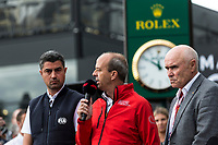 13th March 2020; Melbourne Grand Prix Circuit, Melbourne, Victoria, Australia; Formula One, Australian Grand Prix, Practice Day; Andrew Westacott, Paul Little, Michael Masi talks to the media about the cancellation of the Grand Prix  due to one of the Renault crew being tested positive for the Corona Virus