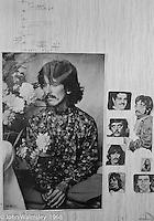 Wall displays in a kid's room, Summerhill school, Leiston, Suffolk, UK. 1968.