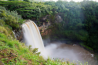 Wailua Falls is a 173-foot waterfall located near Lihue that feeds into the Wailua River. The waterfall is prominently featured on the opening credits of the television show Fantasy Island.