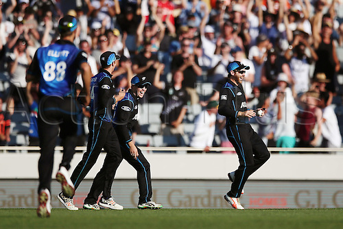 03.02.2016. Auckland, New Zealand.  Kane Williamson of New Zealand celebrates after making the catch to dismiss Glenn Maxwell of Australia. ANZ International Series, 1st Chappell-Hadlee Trophy ODI between New Zealand Back Caps and Australia at Eden Park in Auckland, New Zealand.