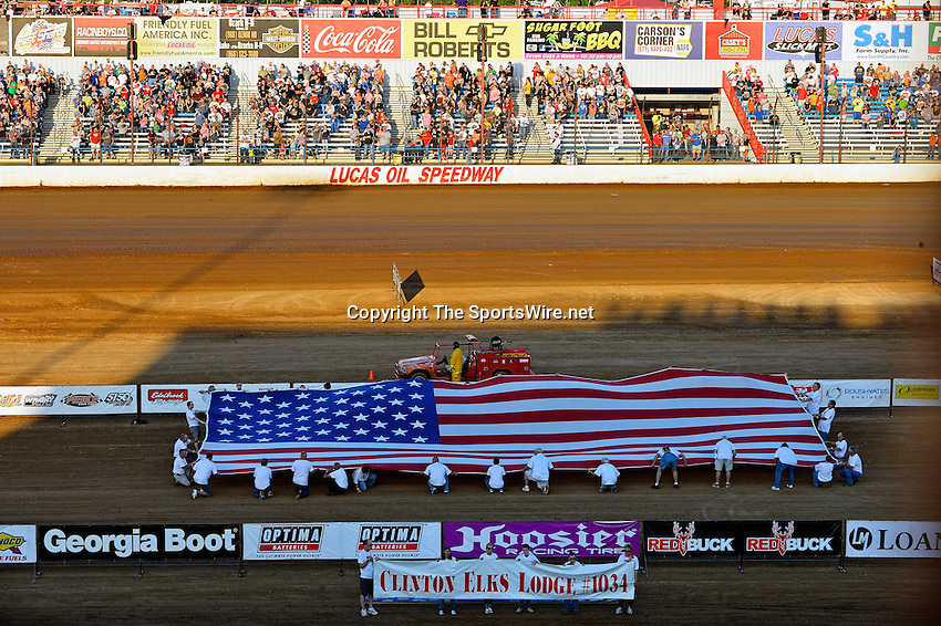 May 25, 2013; 7:26:28 PM; Wheatland, Mo., USA; The  Lucas Oil Late Model Dirt Series running the 21st Annual Lucas Oil Show-Me 100 Presented by ProtectTheHarvest.com.  Mandatory Credit: (thesportswire.net)