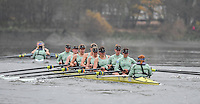 2017 Boat Race Trials<br /> <br /> Womens Trial VIII's for 72nd Women's University Boat Race, sponsored by Newton,held on the Championship Course from Putney to Mortlake, Monday 12 December 2016.<br /> <br /> CUWBC Trial VIII's between NEEDS on Surrey in the Yellow Boat and HALLAM on Middlesex in the White Boat<br /> <br /> HALLAM, Bow, Brittany Preston, 2, Fanny Belais, 3, Ashton Brown, 4, Kirsten van Fossen, 5, Lucy Pike, 6, Melissa Wilson, 7, Holly Hill, Stroke, Alice White, Cox, Matthew Holland.<br /> <br /> NEEDS Bow, Tricia Smith, 2, Emma Andrews, 3, Paula Wulff, 4, Oonagh Cousins, 5, Claire Lambe, 6, Anna Dawson, 7, Myriam Goudet, Stroke, Imogen Grant, Cox, Evie Lindsay., 6, Anna Dawson, 7, Myriam Goudet, Stroke, Imogen Grant, Cox, Evie Lindsay.