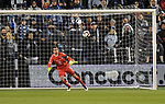 Marcelo Barovero of C.F Monterrey moves to the ball during their CONCACAF Champions League semifinal soccer game on April 11, 2019 at Children's Mercy Park in Kansas City, Kansas.  Photo by TIM VIZER/AFP