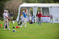 Bill Haas (USA), Dustin Johnson (USA), Jon Rahm (ESP), and Hideto Tanihara (JAP) each warm up before round 6 of the World Golf Championships, Dell Technologies Match Play, Austin Country Club, Austin, Texas, USA. 3/26/2017.<br /> Picture: Golffile | Ken Murray<br /> <br /> <br /> All photo usage must carry mandatory copyright credit (&copy; Golffile | Ken Murray)