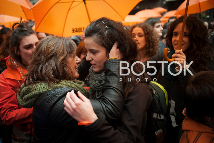 Jone Amezaga surrounded by friends. Gernika (Basque Country) December 13. Jone Amezaga was charged with glorification of terrorism and sentenced to 18 months in prison. After spending almost 3 weeks hidden, Jone has appeared in Gernika, surrounded by many people who have approached to show their solidarity. She can be arrested at any time. (Gari Garaialde / Bostok Photo)