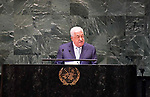 Palestinian President Mahmoud Abbas delivers a speech at the United Nations during the United Nations General Assembly on September 27, 2018 in New York City. World leaders are gathered for the 73rd annual meeting at the UN headquarters in Manhattan. Photo by Thaer Ganaim