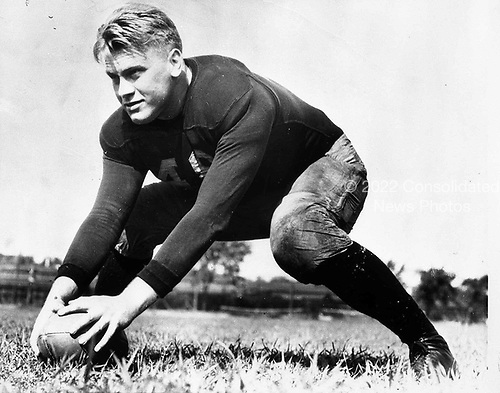 Ann Arbor, MI - FILE --  Gerald Ford on the football field at the University of Michigan.  Date: 1933<br /> Credit: Courtesy Gerald R. Ford Library via CNP