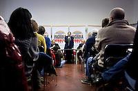 """Milano: Antonio Ingroia candidato della lista civica Rivoluzione Civile incontra i suoi sostenitori nel salone """"Arci Umanitaria""""."""