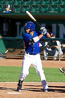 Osvaldo Vela (3) of the Ogden Raptors at bat against the Grand Junction Rockies on June 19, 2014 at Lindquist Field in Ogden, Utah. (Stephen Smith/Four Seam Images)
