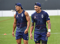 Roger Tuivasa-Sheck and Charnze Nicoll-Klokstad.<br /> Vodafone Warriors training session. NRL Rugby League. Mt Smart Stadium, Auckland, New Zealand. Thursday 8 February 2018 &copy; Copyright Photo: Andrew Cornaga / www.photosport.nz