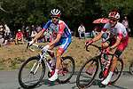 Rudy Molard (FRA) Groupama-FDJ and Stephane Rossetto (FRA) Cofidis in action during the Criterium Castillon La Bataille 2019 the first criterium after the Tour de France held around Ville de Castillon-la-Bataille, France. 6th August 2019.<br /> Picture: Colin Flockton | Cyclefile<br /> All photos usage must carry mandatory copyright credit (© Cyclefile | Colin Flockton)