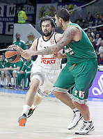 Real Madrid's Sergio Llull (l) and Panathinaikos Athens' Esteban Batista during Euroleague match.January 22,2015. (ALTERPHOTOS/Acero) /NortePhoto<br />