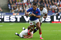 2nd February 2020, Stade de France, Paris; France, 6-Nations International rugby union, France versus England;  Teddy Thomas (France) breaks a tackle