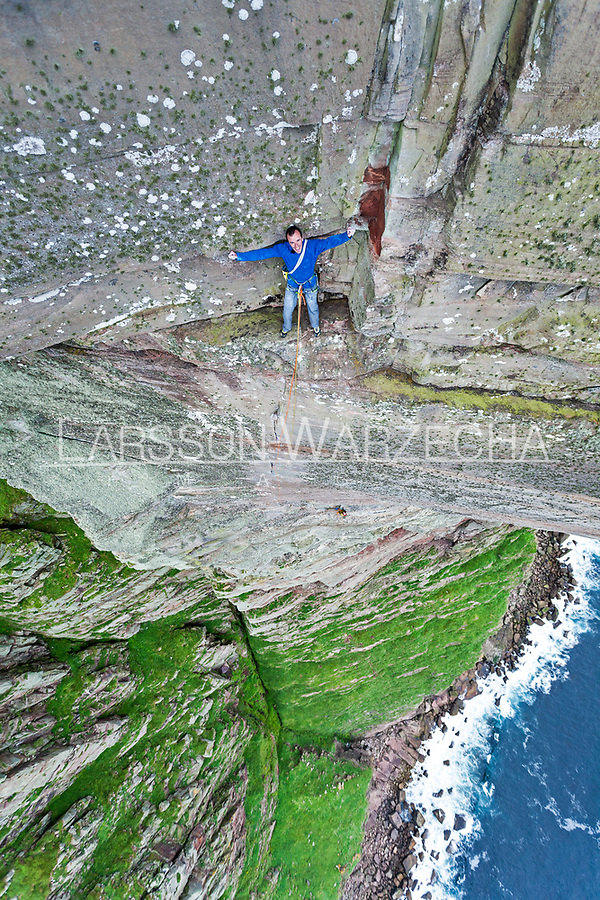 Dave Macleod on the crux pitch of the Longhope Route Direct