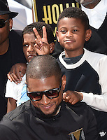 Usher + sons @ his Walk of Fame ceremony held @ 6201 Hollywood blvd. September 7, 2016 , Hollywood, USA. # USHER A SON ETOILE SUR LE 'WALK OF FAME'