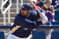 March 13, 2010 - Milwaukee Brewers' Prince Fielder (#28) during a spring training game against the Colorado Rockies at Maryvale Baseball Park in Maryvale, Arizona.