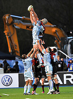 Hendon, England. Alistair Hargreaves of Saracens and  Michael Paterson of Cardiff Blues in the line out during the LV= Cup match for the first professional rugby game on the artificial turf pitch made for rugby between Saracens and Cardiff Blues at Allianz Park Stadium on January 27, 2013 in Hendon, England.