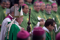 Pope Francis  celebrate the concluding Mass of the Synod of Bishops for the Amazon at the Vatican Oct. 27, 2019.