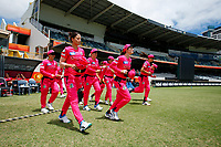 3rd November 2019; Western Australia Cricket Association Ground, Perth, Western Australia, Australia; Womens Big Bash League Cricket, Sydney Sixers verus Melbourne Stars; Sixers players enter the field to start the Stars innings - Editorial Use