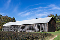 A tobacco barn, South Deerfield, Massachusetts, USA.