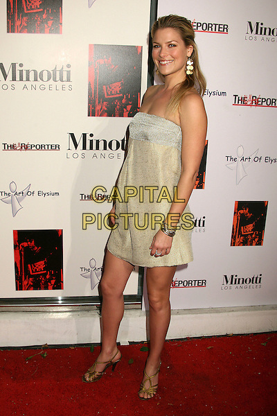 ALI LARTER.The 2006 Art of Elysium Annual Art,  Benefit at Minotti, Los Angeles, California, USA,.02 December 2006..full length strapless gold dress earrings.CAP/ADM/BP.©Byron Purvis/AdMedia/Capital Pictures.