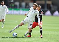 WASHINGTON, DC - FEBRUARY 29: Washington, D.C. - February 29, 2020: Sam Nicholson #28 of the Colorado Rapids battles the ball with Joseph Mora #28 of D.C. United. The Colorado Rapids defeated D.C. Untied 2-1 during their Major League Soccer (MLS)  match at Audi Field during a game between Colorado Rapids and D.C. United at Audi Field on February 29, 2020 in Washington, DC.