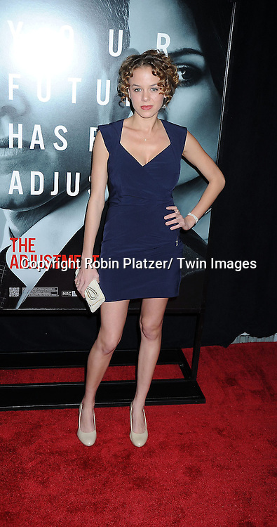 """actress  Lauren Kenley attending The World Premiere of """" The Adjustment Bureau"""" on February 14, 2011.at The Ziegfeld Theatre in New York City..Matt Damon and Emily Blunt are the stars of the movie."""