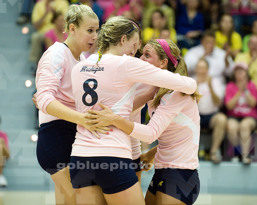 The University of Michigan volleyball team lost to No. 14 Minnesota, 3-2, at Cliff Keen Arena in Ann Arbor, Mich., on October 7, 2011.