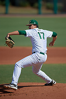 USF Bulls pitcher Baron Stuart (17) delivers a pitch during an intrasquad game on February 9, 2019 at USF Baseball Stadium in Tampa, Florida. (Mike Janes/Four Seam Images)