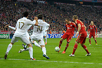 FUSSBALL: Champions League, Halbfinale, Hinspiel, FC Bayern Muenchen - Real Madrid, Muenchen, 17.04.2012.Franck Ribery (Bayern, M.) erzielt das 1:9.© pixathlon