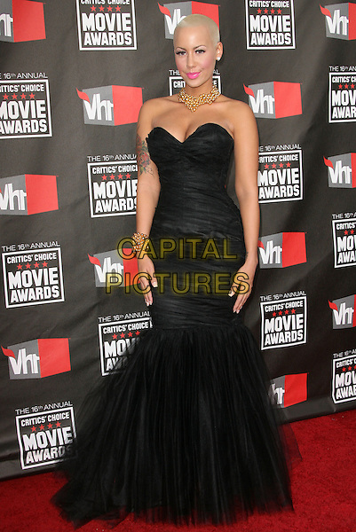 AMBER ROSE .at The16th Annual Critics' Choice Movie Awards held at The Hollywood Palladium in Hollywood, California, USA, January 14th, 2011..full length long maxi dress fishtail gown strapless black cleavage tulle.CAP/RKE/DVS.©DVS/RockinExposures/Capital Pictures.