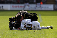 ATTENTION SPORTS PICTURE DESK<br /> Pictured: Nathan Dyer of Swansea on the ground receives first aid treatment by team physiotherapist Richard Evans<br /> Re: Coca Cola Championship, Swansea City FC v Bristol City FC at the Liberty Stadium Swansea, south Wales. Saturday 18 April 2009.<br /> Picture by D Legakis Photography / Athena Picture Agency, Swansea 07815441513