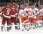 Danny Biega (Harvard - 9), Peter Starrett (Harvard - 14), Steve Michalek (Harvard - 34), Ross Gaudet (BU - 22), Kevin Gilroy (BU - 16), Chris Connolly (BU - 12), Wade Megan (BU - 18), Max Nicastro (BU - 7) - The Boston University Terriers defeated the Harvard University Crimson 3-1 in the opening round of the 2012 Beanpot on Monday, February 6, 2012, at TD Garden in Boston, Massachusetts.