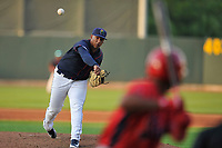 Cedar Rapids Kernels starting pitcher Edwar Colina (13) throws a pitch against the Peoria Chiefs at Veterans Memorial Stadium on June 16, 2018 in Cedar Rapids, Iowa. The Kernels won 12-4.  (Dennis Hubbard/Four Seam Images)