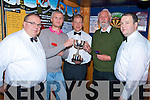 Sean Murphy, Murphy's Bar, Killarney, pictured with David Hayes and John Hill, finalists in the Peg Murphy Cup finals in the bar on Tuesday night. Also pictured are Roland Sauter and Denis Brosnan.........