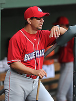 Manager Mickey Morandini (12) of the Lakewood BlueClaws prior to a game against the Greenville Drive on the Drive's Opening Day, April 5, 2012, at Fluor Field at the West End in Greenville, South Carolina. (Tom Priddy/Four Seam Images)