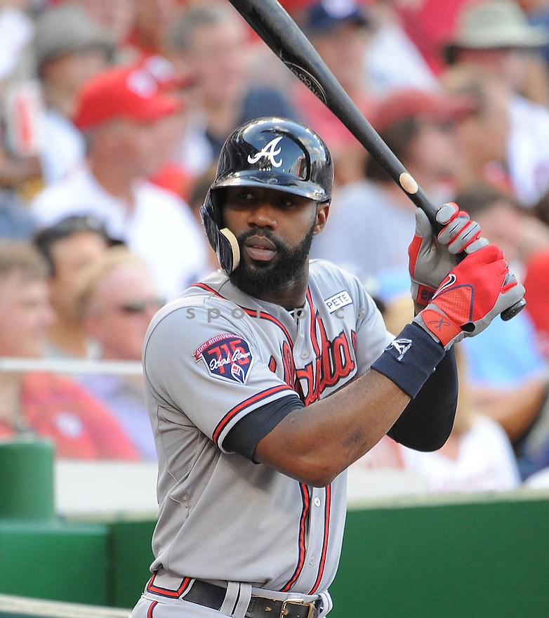 Atlanta Braves Jason Heyward (22) during a game against the Washington Nationals on September 10, 2014 at Nationals Park in Washington DC. The Braves beat the Nationals 6-2.