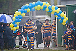 Siosiua Pole leads the Patumahoe team out in rather inclement conditions. Counties Manukau Premier Club Rugby game between Patumahoe and Bombay played at the Patumahoe Domain on Saturday June 4th 2011 as part of the Patumahoe 125th Anniversary celebrations. Patumahoe won 24 - 3 after leading 5 - 3 at halftime.
