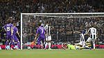 Cristiano Ronaldo of Real Madrid scores the first goal during the Champions League Final match at the Millennium Stadium, Cardiff. Picture date: June 3rd, 2017.Picture credit should read: David Klein/Sportimage