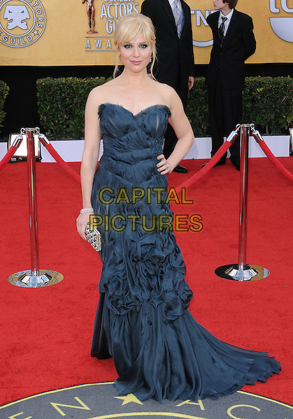 CARA BUONO.17th Annual Screen Actors Guild Awards held at The Shrine Auditorium, Los Angeles, California, USA..January 30th, 2011.arrivals SAG full length strapless blue dress gathered hand on hip.CAP/RKE/DVS.©DVS/RockinExposures/Capital Pictures.
