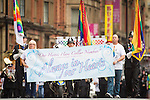 © Joel Goodman - 07973 332324 . 24 August 2013 . Manchester , UK . PCs Fiona Bone and Nicola Hughes tribute . 2013 Gay Pride Parade through Manchester City Centre . This year's theme is 1980s . Photo credit : Joel Goodman