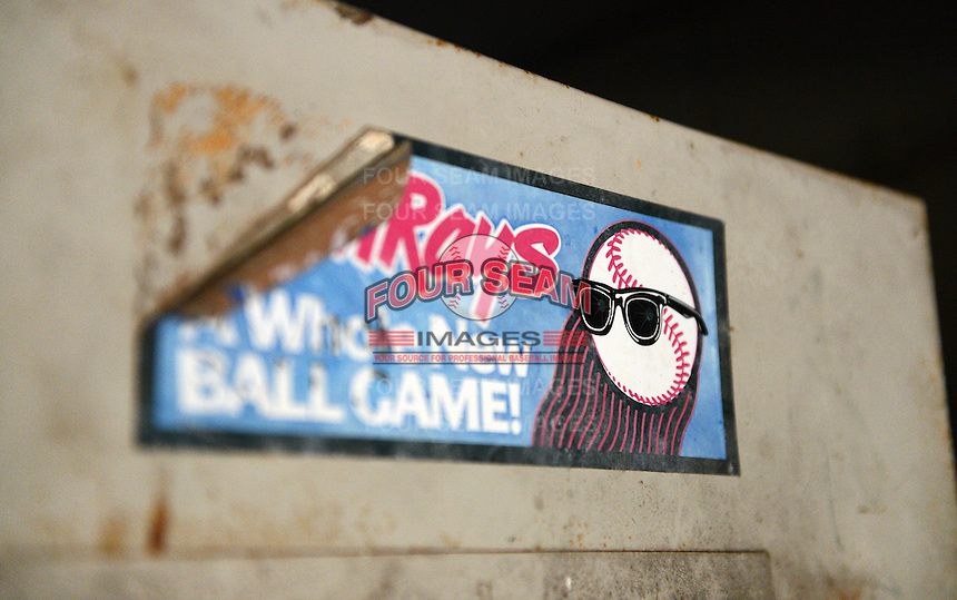 A peeling Orlando Sun Rays sticker at Tinker Field, a former spring training site for the Cincinnati Reds, Brooklyn Dodgers, Washington Senators, and Minnesota Twins as well as a minor league stadium, that is possibly being demolished with some portions moved due to renovations at the Citrus Bowl;  February 19, 2014 at Tinker Field in Orlando, Florida.  (Mike Janes/Four Seam Images)