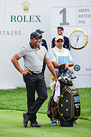 Jhonattan Vegas (VEN) looks over his tee shot on 1 during round 2 Four-Ball of the 2017 President's Cup, Liberty National Golf Club, Jersey City, New Jersey, USA. 9/29/2017.<br /> Picture: Golffile | Ken Murray<br /> <br /> All photo usage must carry mandatory copyright credit (&copy; Golffile | Ken Murray)