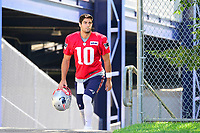 July 28, 2017: New England Patriots quarterback Jimmy Garoppolo (10) walks to the practice fields for the New England Patriots training camp held at Gillette Stadium, in Foxborough, Massachusetts. Eric Canha/CSM